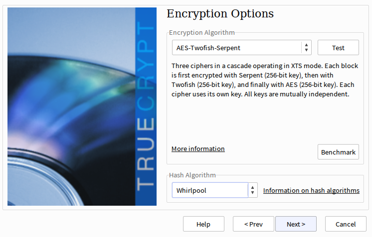 TrueCrypt encryption and hash algorithm selection