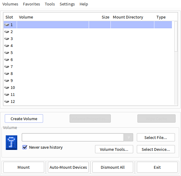 TrueCrypt start screen with no volumes mounted