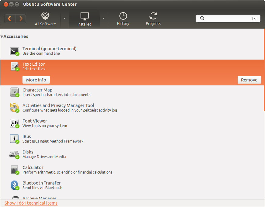 Ubuntu Software Center installed packages screen showing the option to remove a text editor