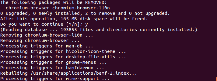 Ubuntu Terminal showing sample output from the sudo apt-get remove command