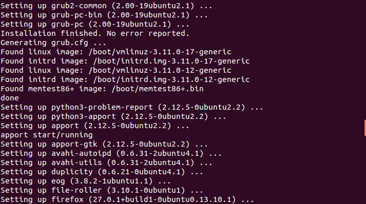 Ubuntu Terminal showing sample output from the sudo apt-get upgrade command